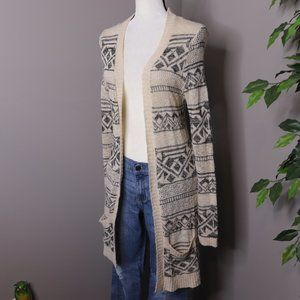 Pink Republic Open Front Duster Cardigan Tribal